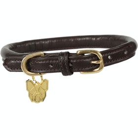 Shires Rolled Leather Dog Collar - Brown