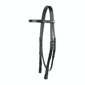 Ogłowie Jeffries Falcon Plain Headstall With 3 Quarter Cheeks - black