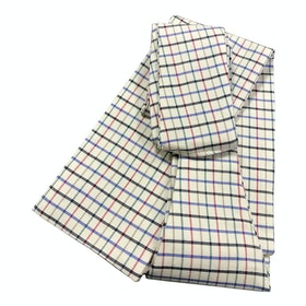 Racesafe Woven Cotton Untied Competition Stock - cream/blue/navy/green check