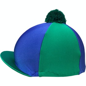 Racesafe Lycra Patterned with Pom Pom Hat Cover - emerald green/royal