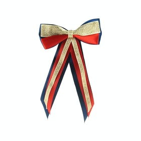 Bow Showquest Hairbow and Tails - Navy Red Gold