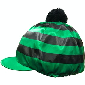 Racesafe Satin Pom Pom Hat Cover - Emerald/Black Hoops