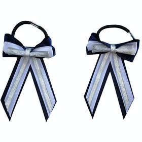 Bow Showquest Piggy Bow and Tails - Navy Pale Blue Silver