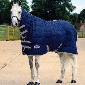 Weatherbeeta ComFiTec 210D Channel Quilt Medium Lite 110g Combo Stable Rug - Navy Silver Red