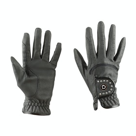 Dublin Diamante Patent Dressage Ladies Gloves - black