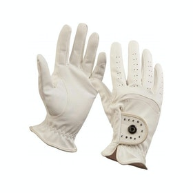 Dublin Diamante Patent Dressage Ladies Gloves - white