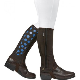 Dublin Easy Care Spot Childs Half Chaps - Brown/Blue