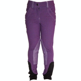 Horseware Junior Knitted Denim Childrens Riding Breeches - Purple