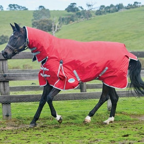 Weatherbeeta ComFiTec Classic Heavy Combo Turnout Rug - Red Silver Navy