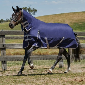Weatherbeeta ComFiTec Essential Heavy Combo Turnout Rug - Navy/Silver/Red
