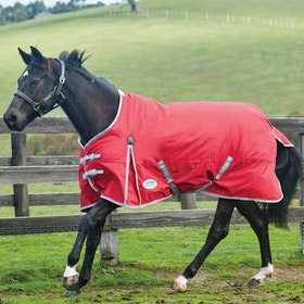 Weatherbeeta ComFiTec Classic Medium Standard Neck Turnout Rug - Red Silver Navy