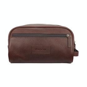 Barbour Leather Washbag - Darker Brown