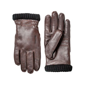 Hestra Deerskin Primaloft Rib Gloves - Dark Brown