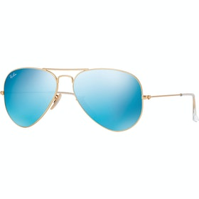 Ray-Ban Aviator Large Livsstil solbriller - Matte Gold Green Mirror Blue