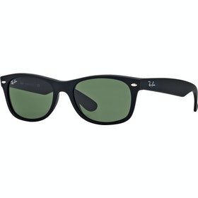 Ray-Ban New Wayfarer Sunglasses - Black Rubber ~ Crystal Green