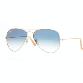 Ray-Ban Aviator Large Sunglasses - Gold ~ Crystal Gradient Light Blue