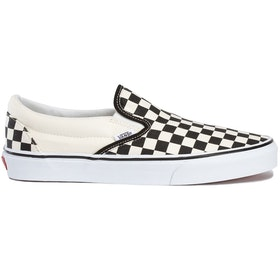 Vans Classic Slip On Trainers - White Black Checkerboard