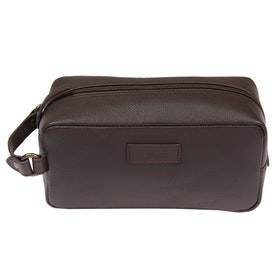 Barbour Compact Leather Washbag - Brown