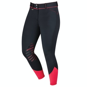 Dublin Thermal Gel Knee Patch Ladies Riding Breeches - Black Pink