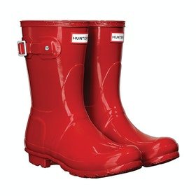 Hunter Original Short Gloss Ladies Wellies - Military Red