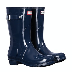 Hunter Original Short Gloss Ladies Wellingtons - Navy
