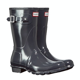 Hunter Original Short Gloss Ladies Wellies - Dark Slate