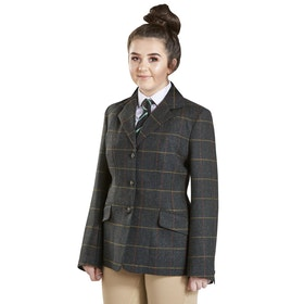 Firefoot Haworth Standard Collar Girls Jacket - Green Check