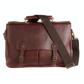 Barbour Leather Briefcase Messenger Bag - Dark Brown