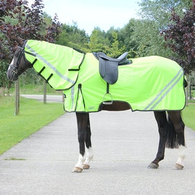 QHP Reflective Exercise with Neck Fly Rug - Yellow