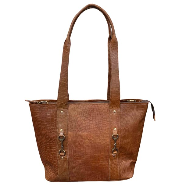 Grays The Jessica Tote Croc Natural Leather Ladies Shopper Bag