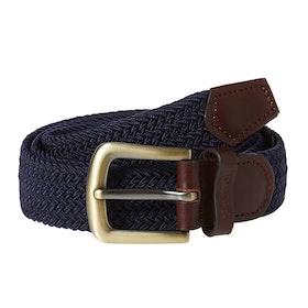 Barbour Stretch Webbing Leather Mens Web Belt - Navy