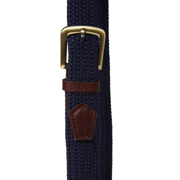 Barbour Stretch Webbing Leather Mens Web Belt