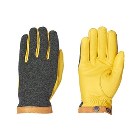 Hestra Deerskin Wool Tricot Gloves - Grey Yellow