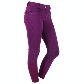 Riding Breeches QHP Elena Anti Slip Full Seat - Purple