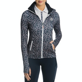 Horseware Technical Full Zip Ladies Top - Animal Print Navy Grey