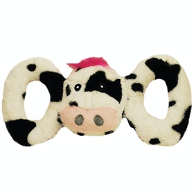 Horsemans Pride Jolly Pets Tug a Mal Cow Dog Toy - Black white