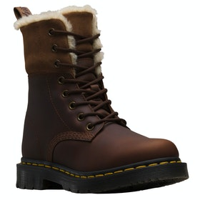 Dr Martens 1460 Kolbert Snowplow Waxy Suede ブーツ - Dark Brown Mustang
