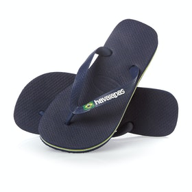 Havaianas Brasil Logo Sandals - Navy Blue