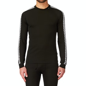 Helly Hansen LIfa Stripe Crew LS Base Layer Top - Black White