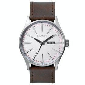 Nixon Sentry Leather Watch - Silver Brown