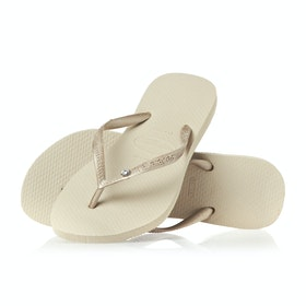 Havaianas Slim Crystal Glamour Womens Sandals - Sand Grey Light Gold