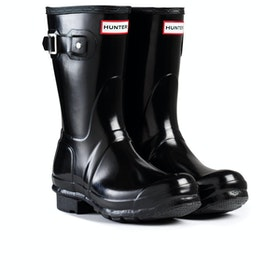 Hunter Original Short Gloss Womens Wellies - Black