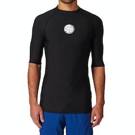 Rip Curl Flashbomb Short Sleeve Polypro Thermal Rash Vest - Black
