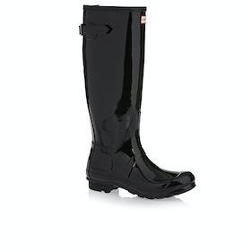 Hunter Original Back Adjustable Gloss Womens Wellies - Black