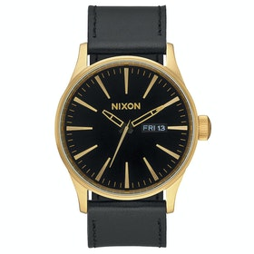 Nixon Sentry Leather Watch - Gold Black