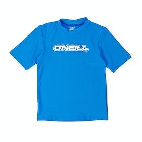 O'Neill Toddler Basic Skins Short Sleeve Boys Rash Vest - Brite Blue