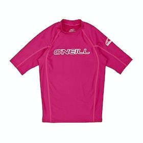 Rash Vest Girls O'Neill Basic Skins Short Sleeve Crew - Watermelon