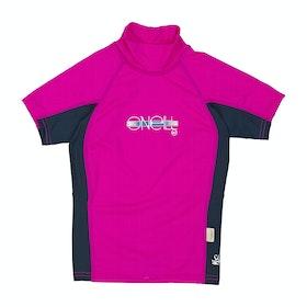 Rash Vest Girls O'Neill Skins Short Sleeve Turtleneck - BERRY/NVY/BERRY