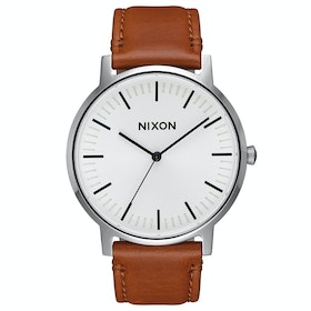 Nixon Porter Leather Watch - White Sunray Saddle