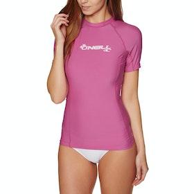 O'Neill Basic Skins Short Sleeve Crew Womens Rash Vest - PINK